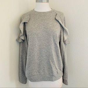 Mossimo Heather Grey Scalloped Sleeve Sweatshirt M